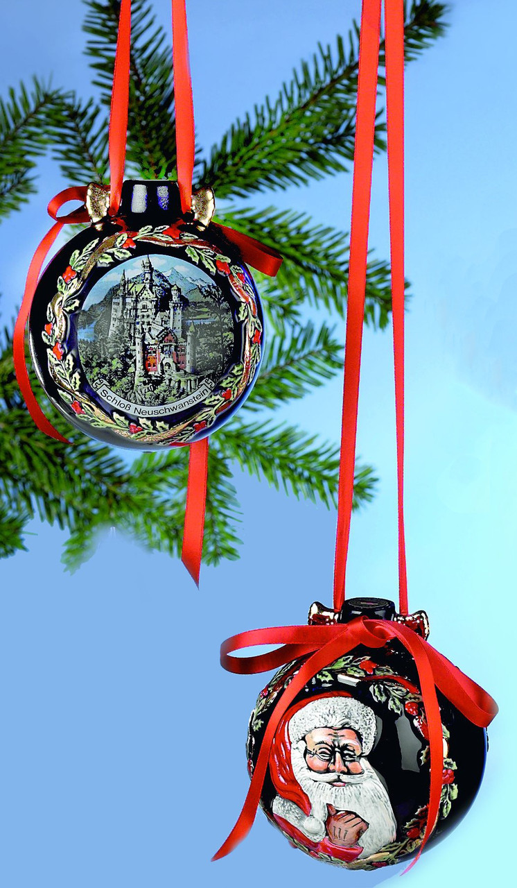 Front and Back View of Neuschwastein & Santa Ceramic Large Christmas Ornament