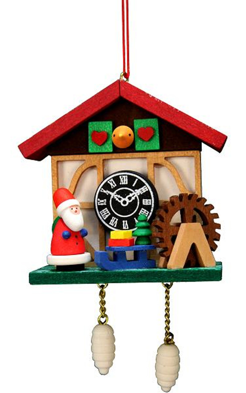 Wooden German Cuckoo Clock Ornament of Santa & a Watermill