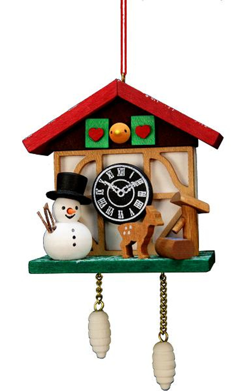 Wooden German Cuckoo Clock Ornament with Snowman & Deer