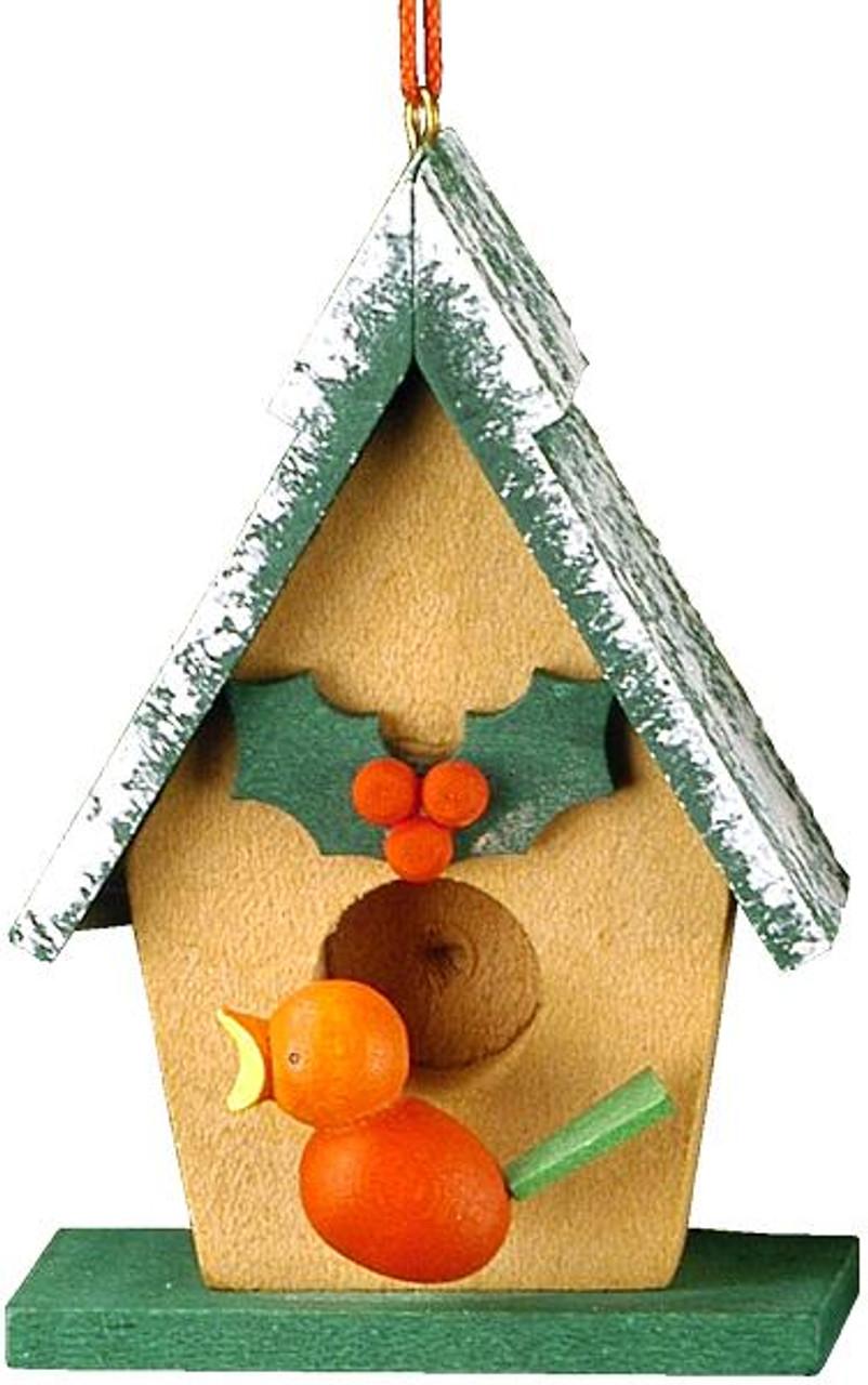 Bird House Wooden German Ornament