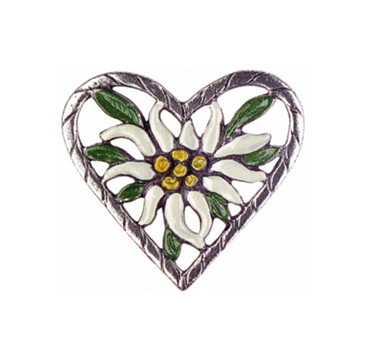 Edelweiss Heart German Pewter Pin