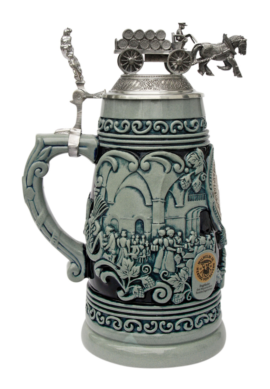 1 liter authentic cobalt german stein with pewter lid