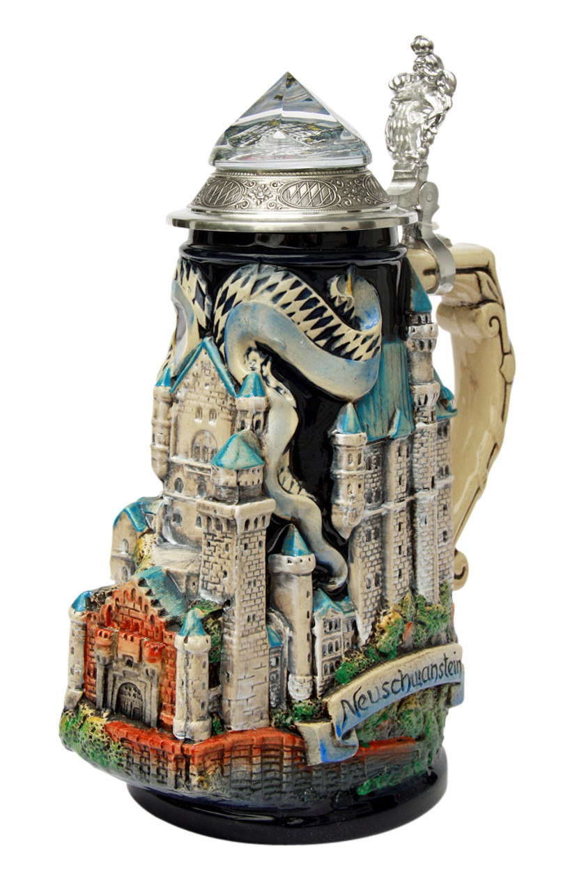 Neuschwanstein Castle 3D Beer Stein with Faceted Crystal Lid