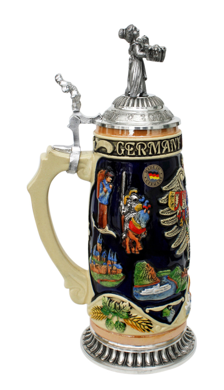 Deutschland Legacy Beer Stein | Beer Maiden Lid and Pewter Base
