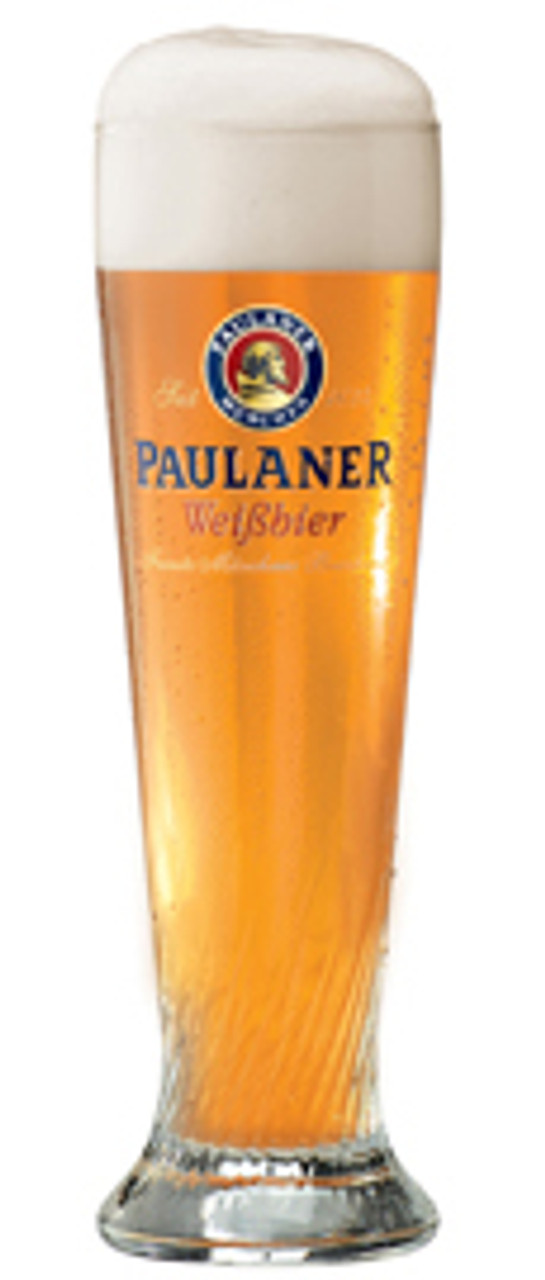 Personalized Paulaner 0.5 Liter Wheat Beer Glass with Beer