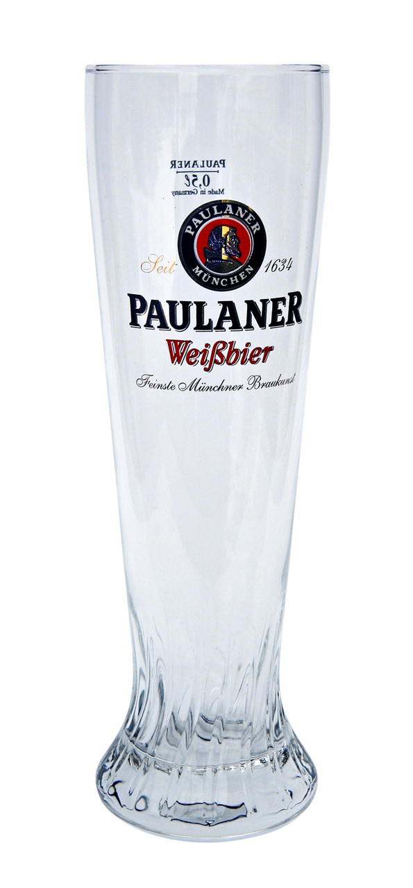 Front of Traditional 0.5 Liter Paulaner Wheat Beer Glass
