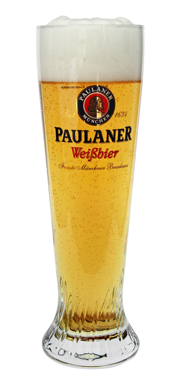 Authentic Paulaner 0.5 Liter Wheat Beer Glass with Beer