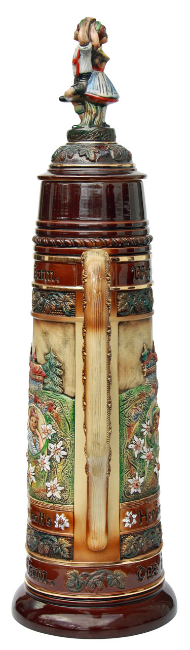 Huge German Stein with Traditional Bavarian Motifs and Ceramic Lid