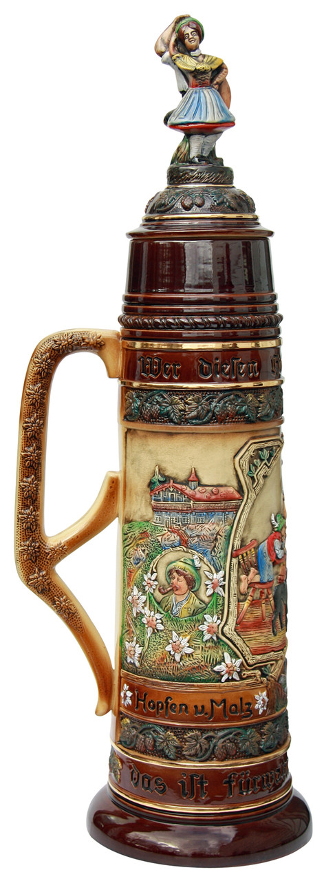 Massive German Stein with Alpine Life Motifs and Detachable Lid