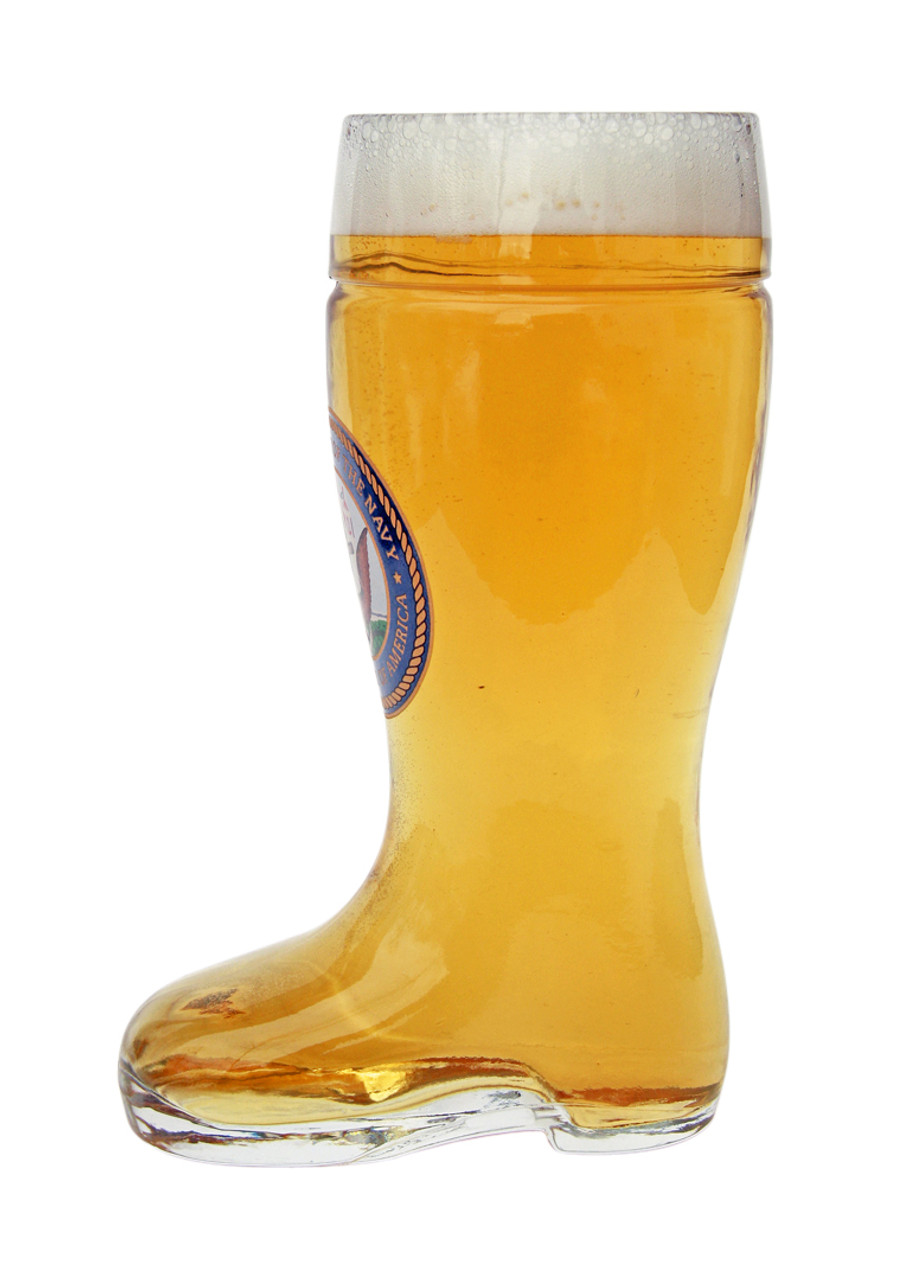 Side of Personalized 0.5 Liter German Beer Boot with US Navy Seal