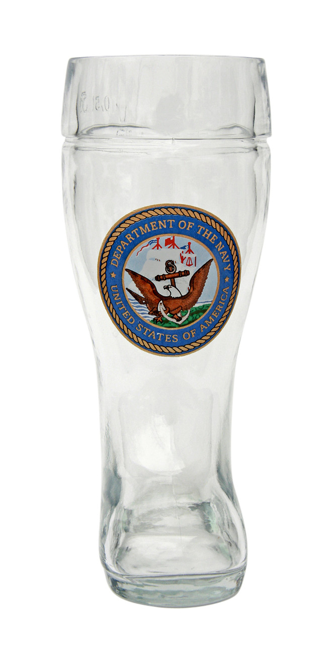 Front of 0.5 Liter German Beer Boot with Traditional US Navy Seal