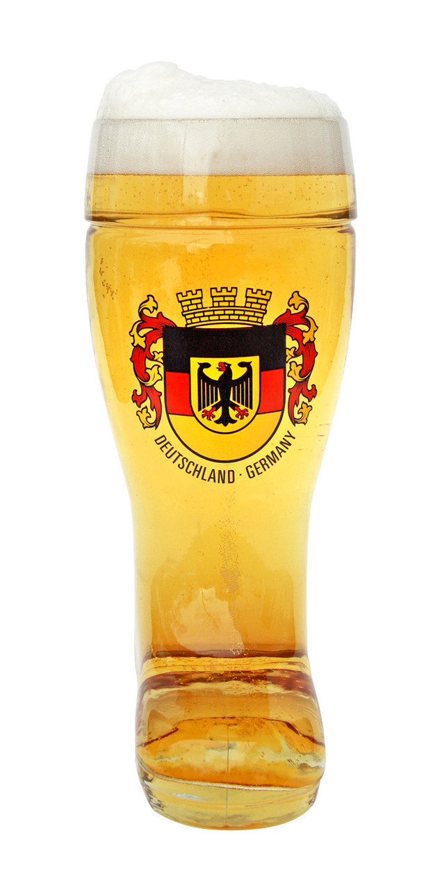Personalized German Glass Beer Boot with Deutschland Crest
