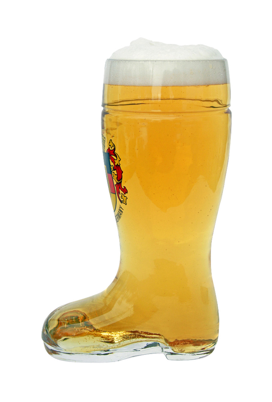 Authentic German Glass Beer Boot with Deutschland Crest