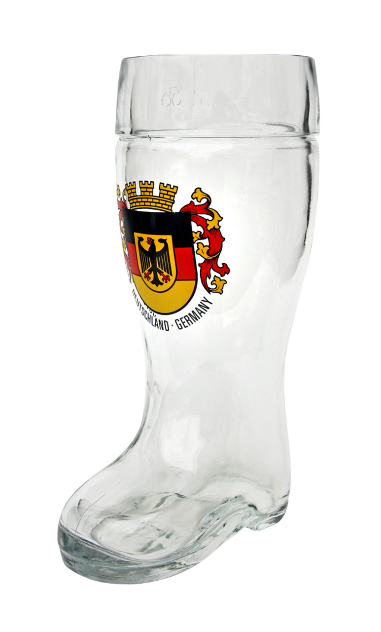 Traditional German Glass Beer Boot with Personalized Engraving Option
