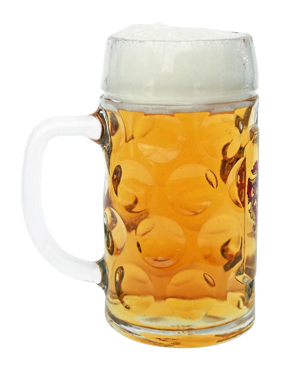 Authentic 0.5 Liter German Saarland Mass Krug with Beer