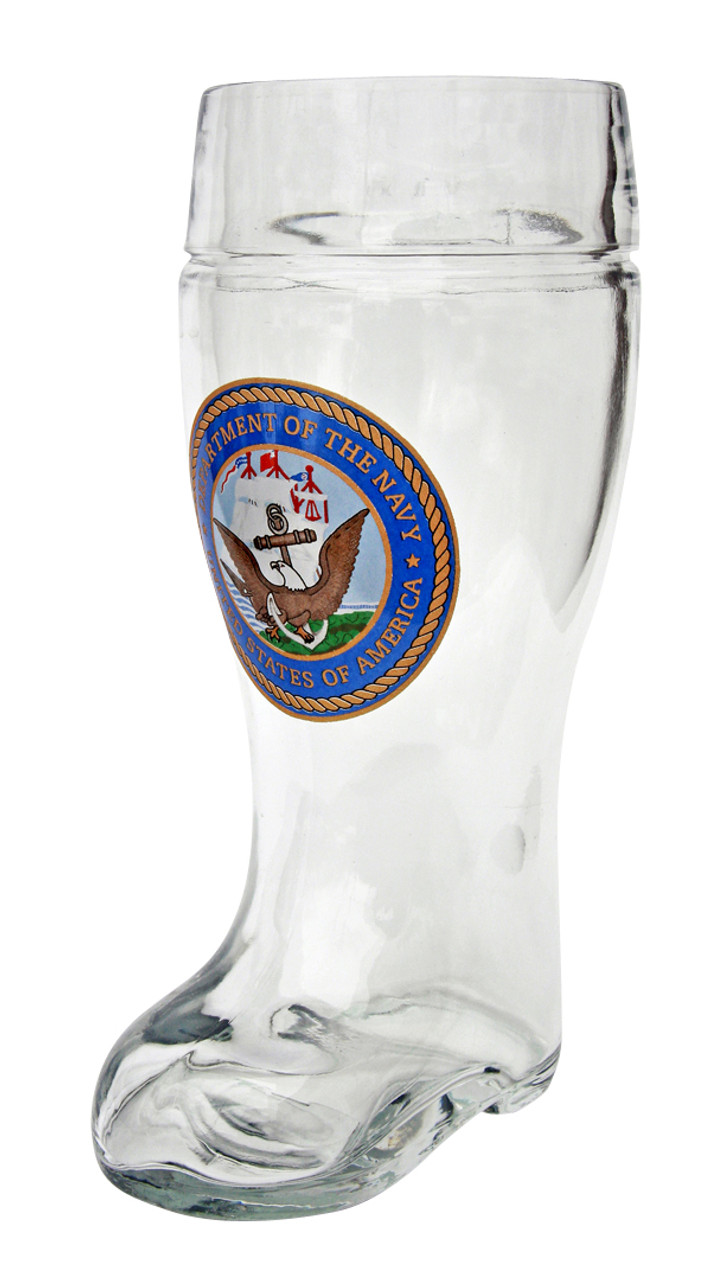 Authentic German Beer Boot with US Navy Seal - 1 Liter