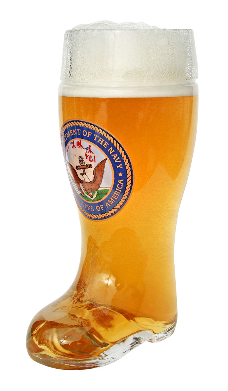 Authentic 1 Liter German Beer Boot with US Navy Seal