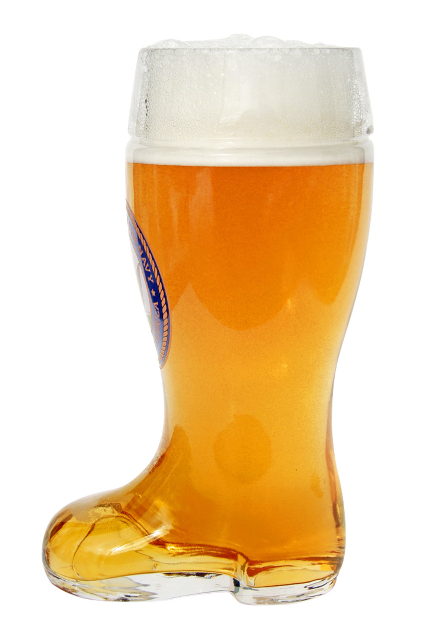 Side of Personalized 1 Liter Beer Boot with US Navy Seal