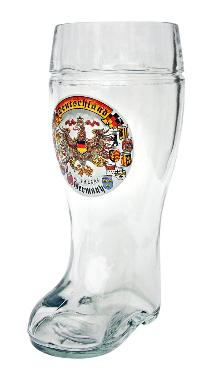 German Beer Boot with Traditional German Eagle