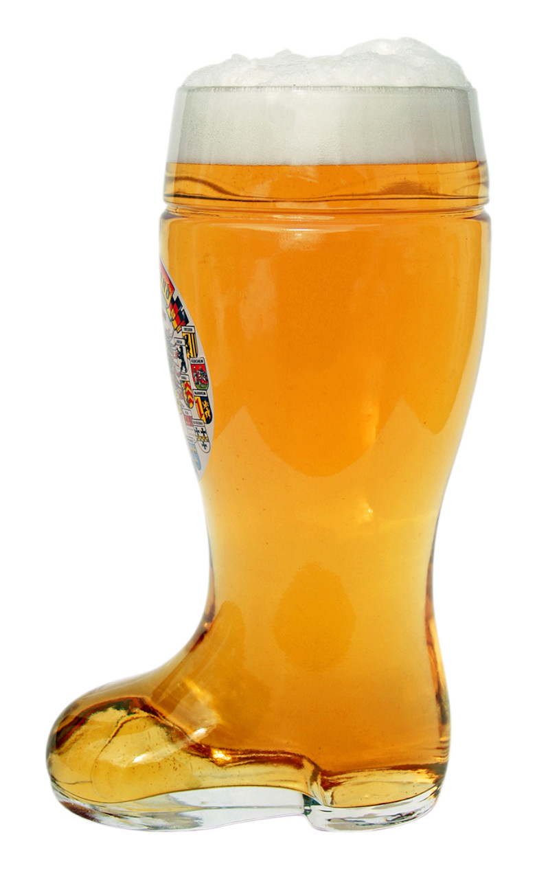 Side View of German Beer Boot with Beer