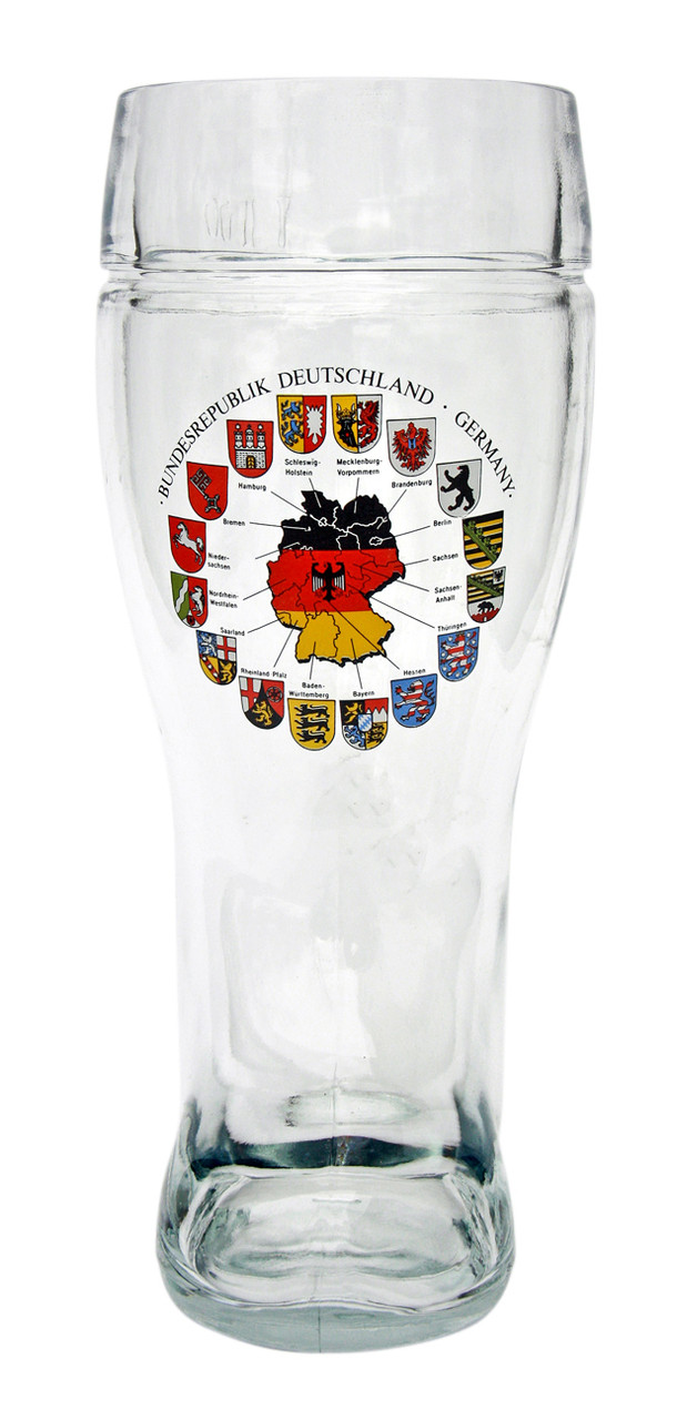 1 Liter Beer Boot with Traditional German Flags