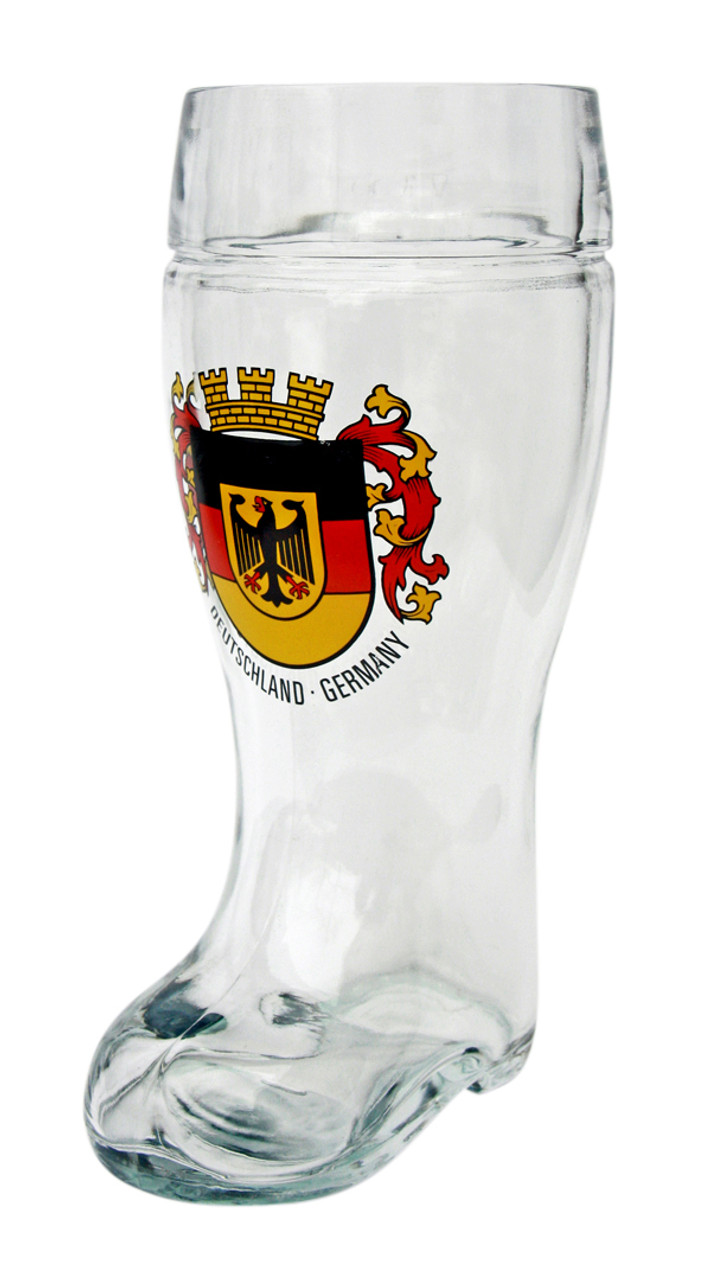 Deutschland Crest Beer Boot Glass with Personalized Engraving Option