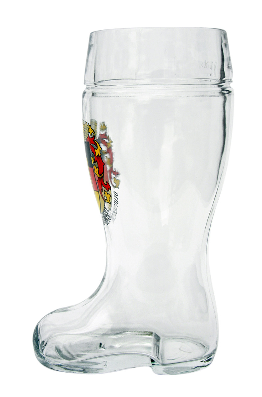 Personalized Beer Boot Mug with German Deutschland Crest