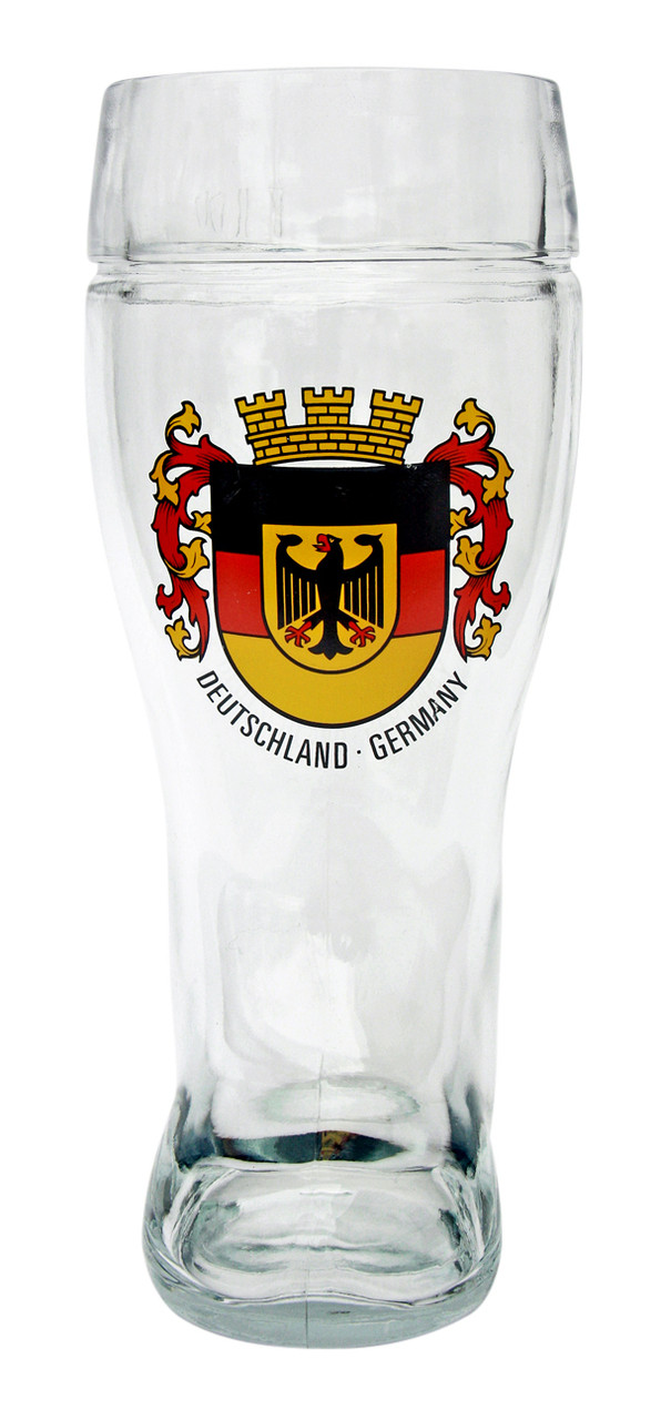Authentic German Beer Boot Glass with Deutschland Crest