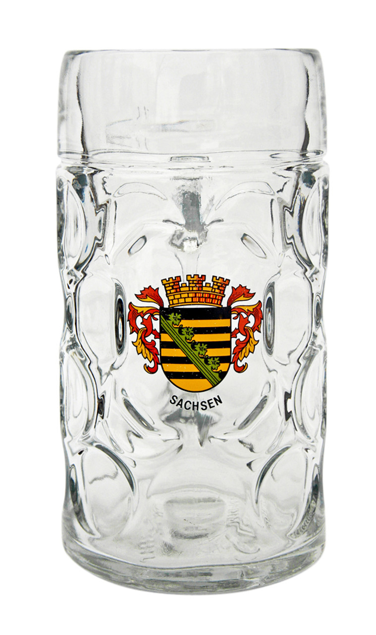 Custom Engraved 1 Liter Beer Mug with Saschen Crest