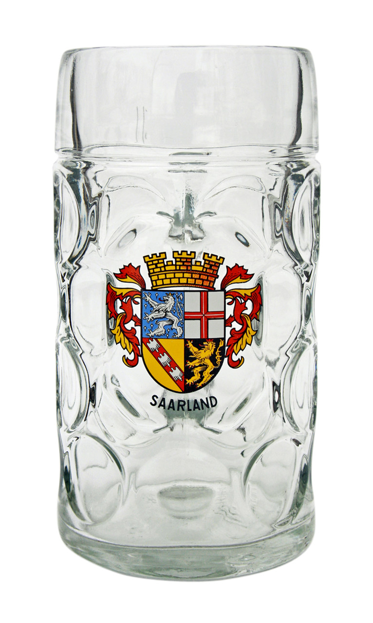 Traditional Saarland Crest on 1 Liter German Beer Mug