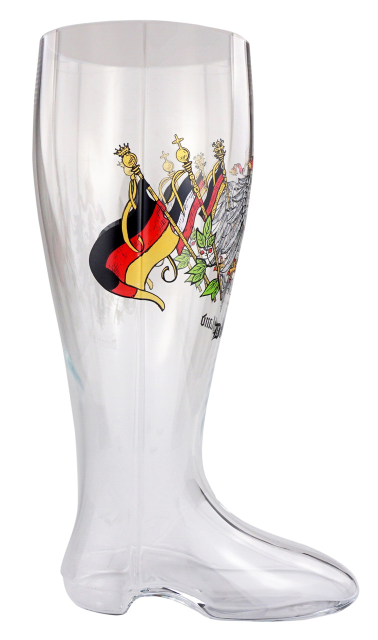 German Glass Beer Boot with Logo