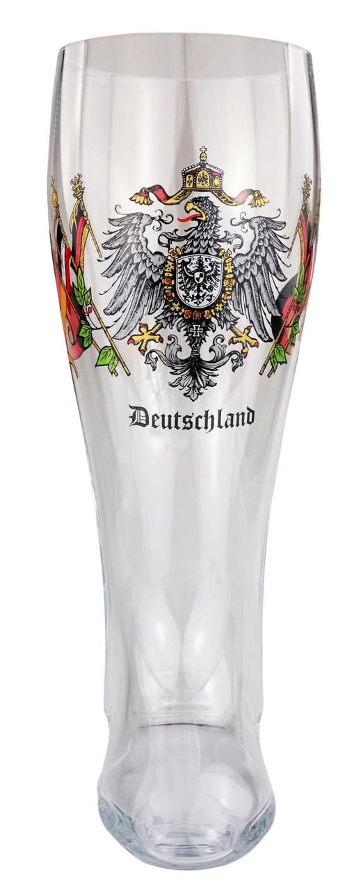 Authentic Glass Beer Boot with Deutschland Crest