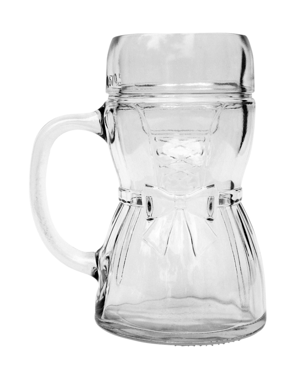Back of Glass Dirndl Mug Revealing Skirt Pleats, Bow and Lacing