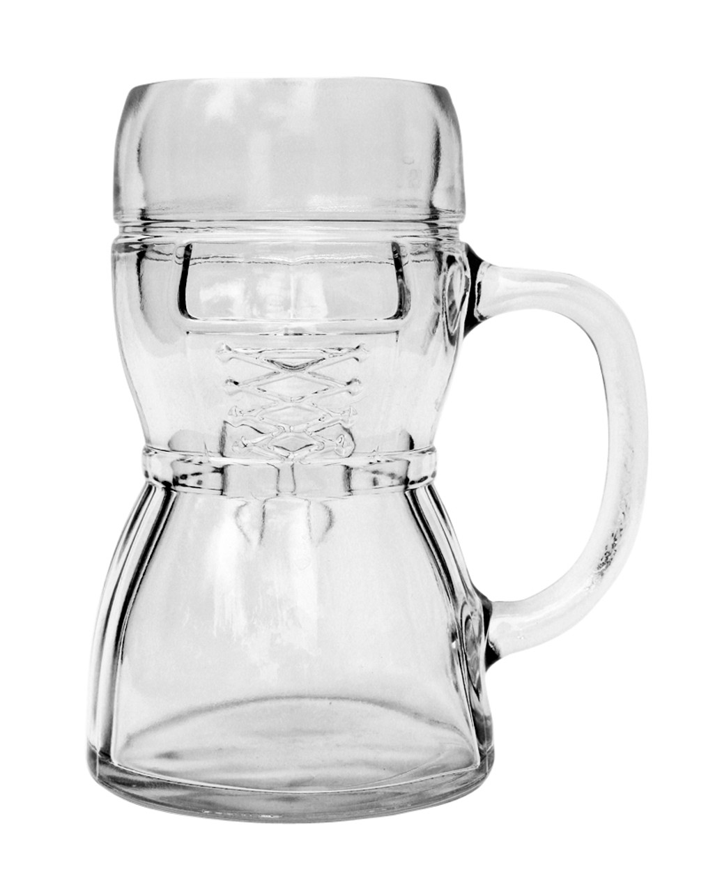 Front of Empty Half Liter Dirndl Glass Beer Mug, Showing Laces and Apron