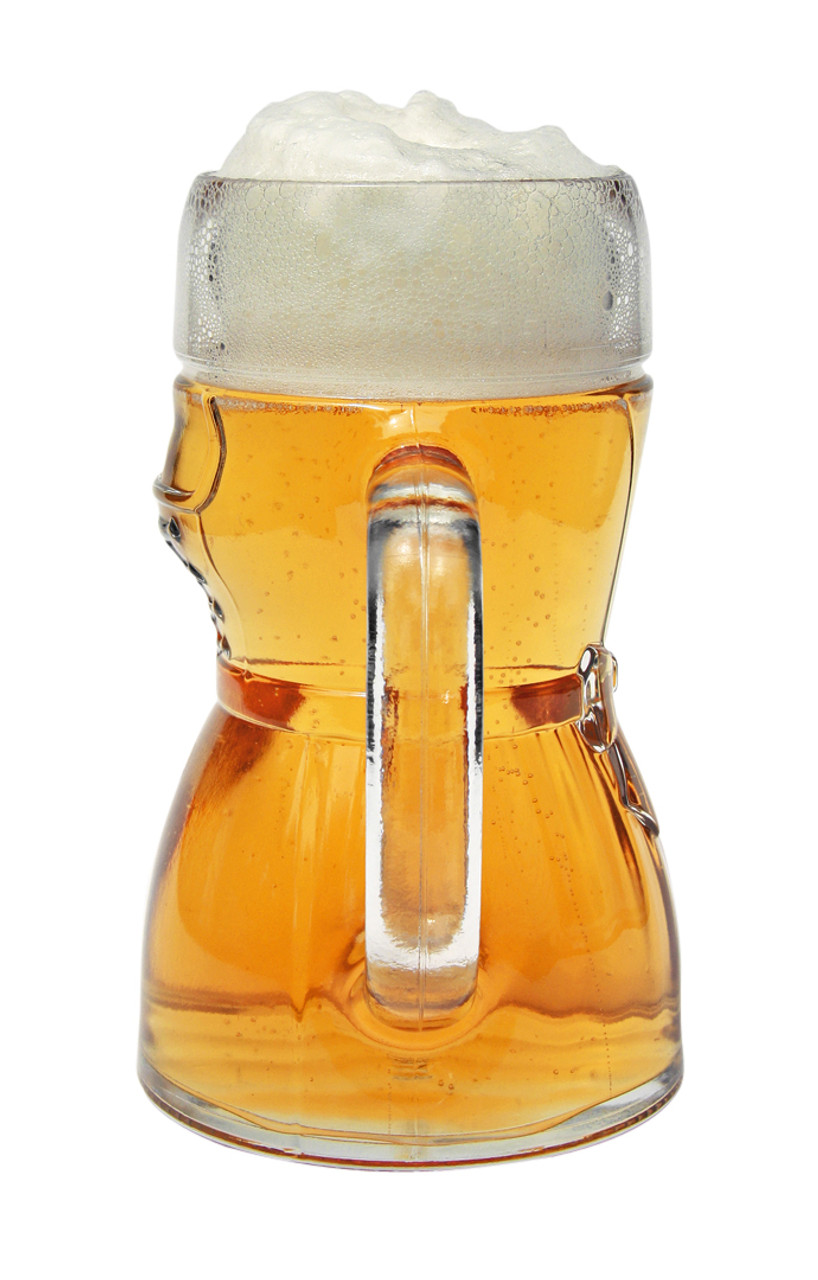 Side View of Glass Dirndl Mug Full of Beer Showing Handle