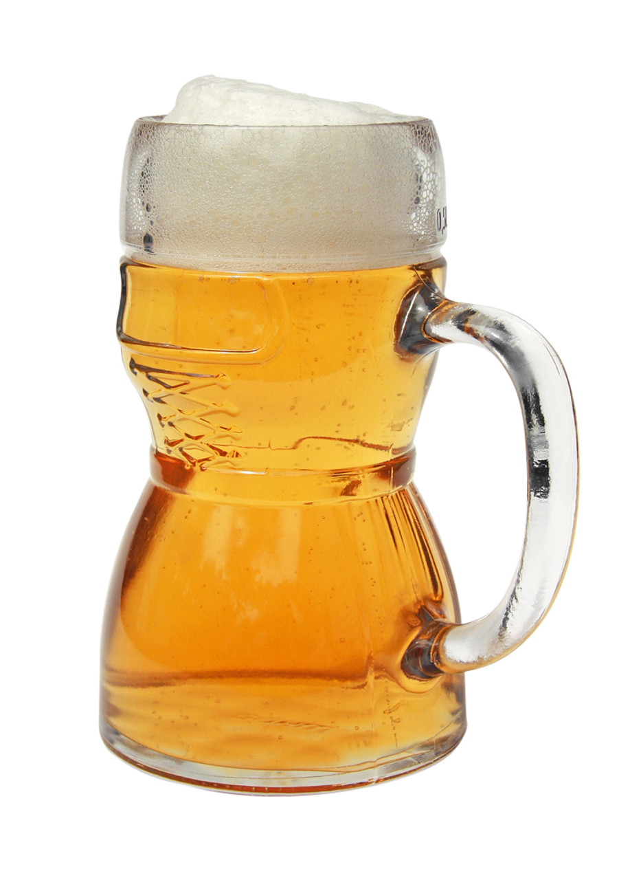 Three Quarter View of Half Liter Glass Dirndl Beer Mug Showing Front and Handle