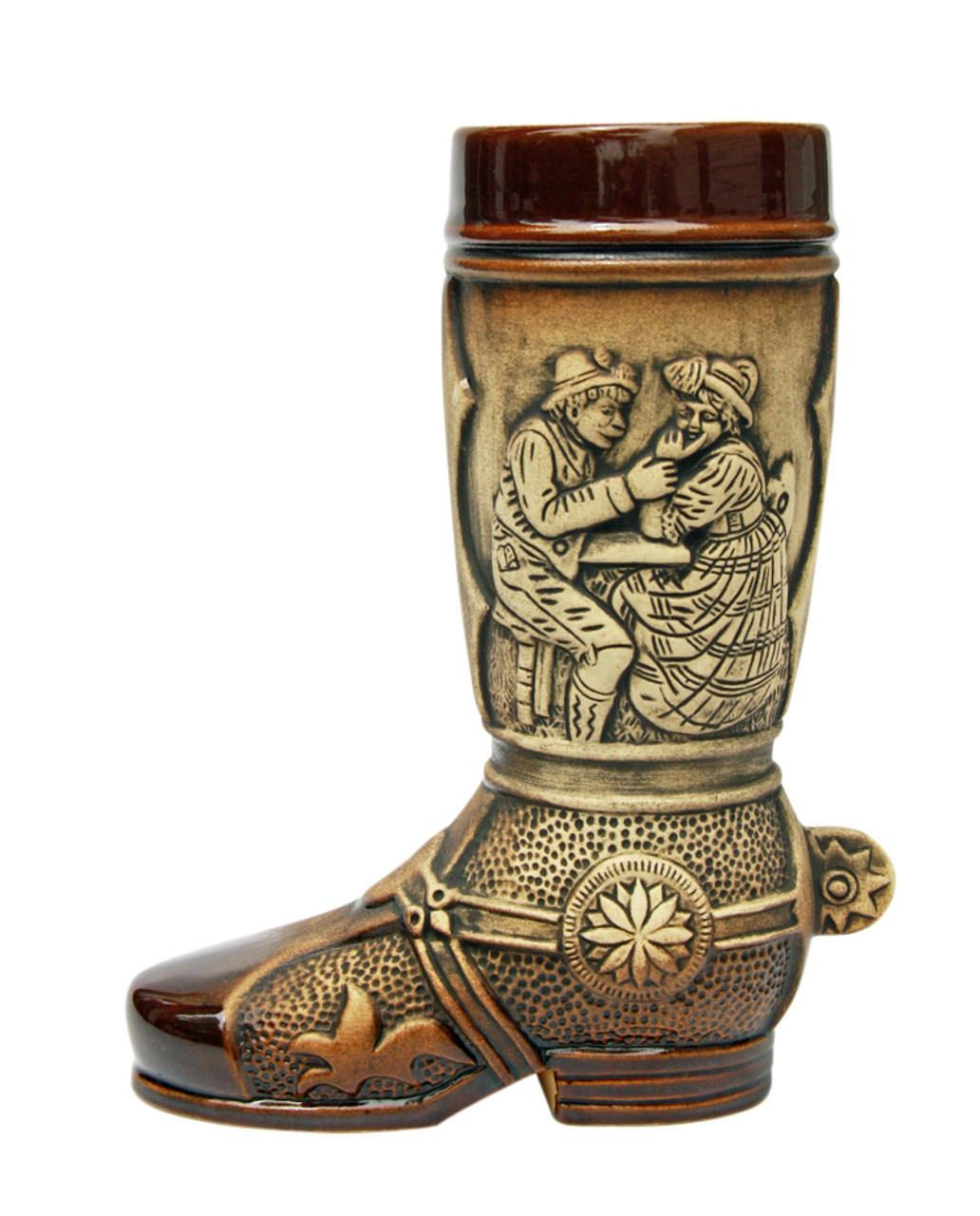Rustic Ceramic Beer Boot with German Scenes & 3D Spur