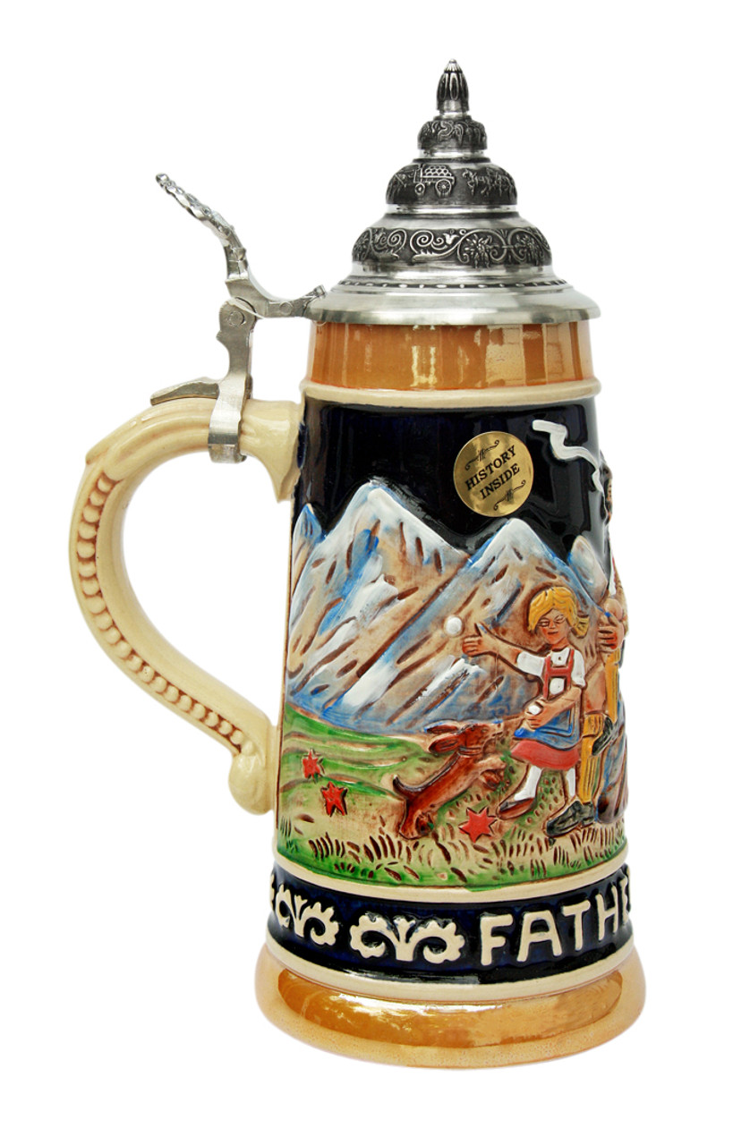 .5L Hand-Painted German Beer Stein for Father's Day with Pewter Lid