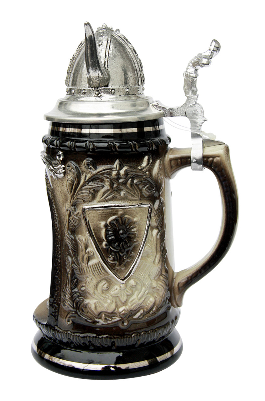 Viking Grotto Beer Stein with Helmet Lid
