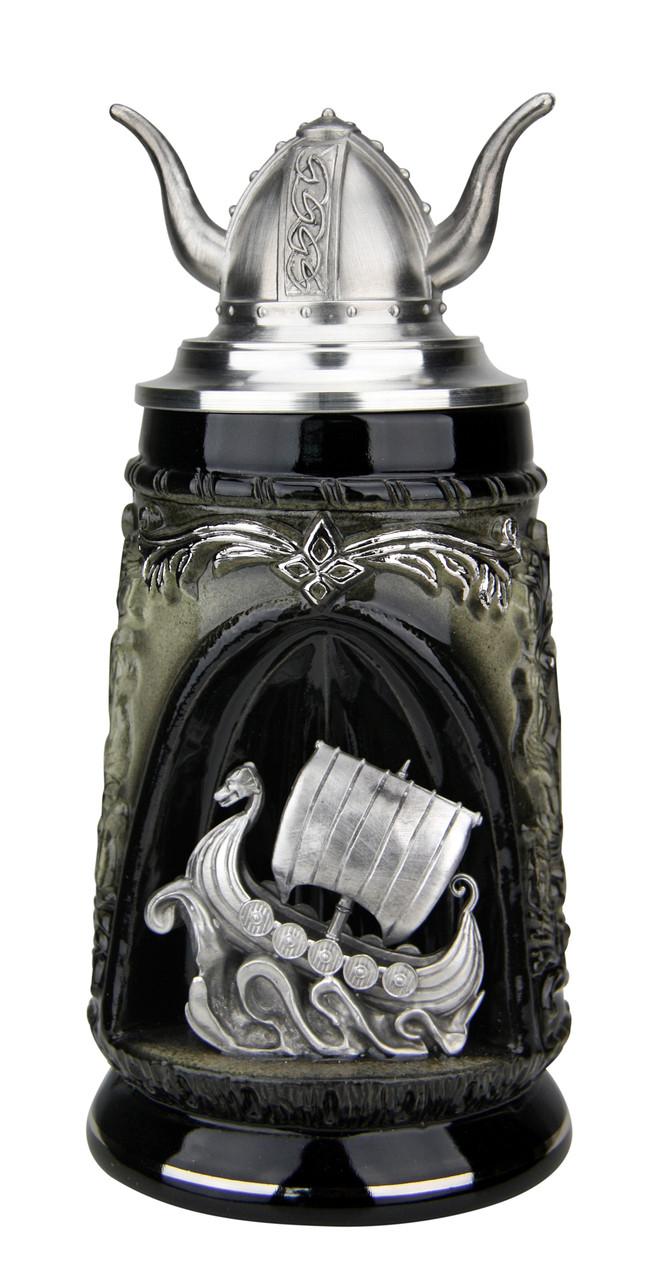 Viking Ship Grotto Beer Stein with Helmet Lid