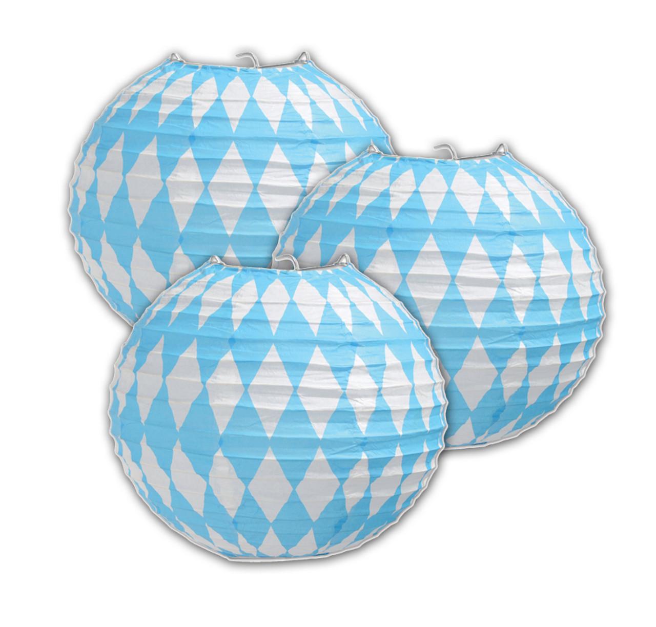 Bavarian Flag Oktoberfest Party Paper Lantern Decoration 3 pack