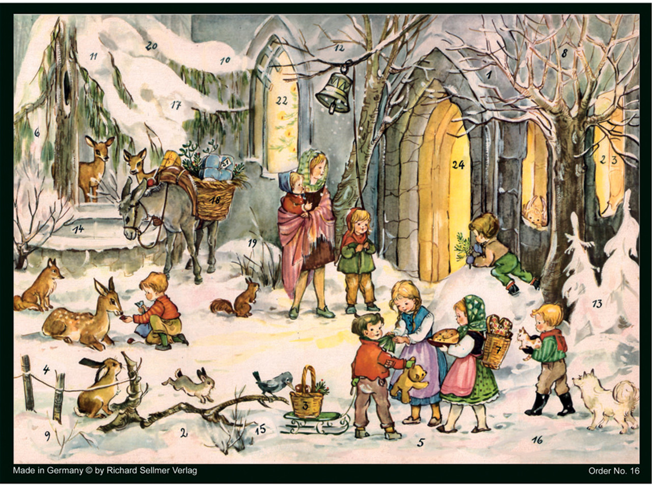 Children with Animals German Christmas Advent Calendar