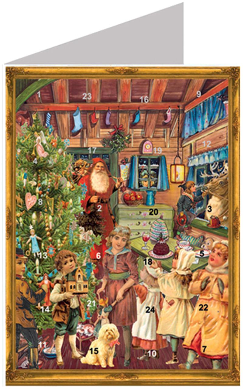 Victorian Era Santa's Workshop German Advent Calendar & Christmas Card