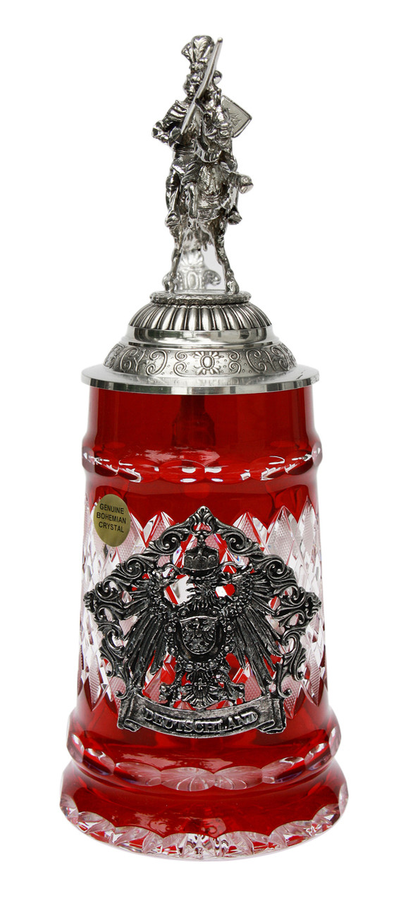 Lord of Crystal German Knight Beer Stein Red