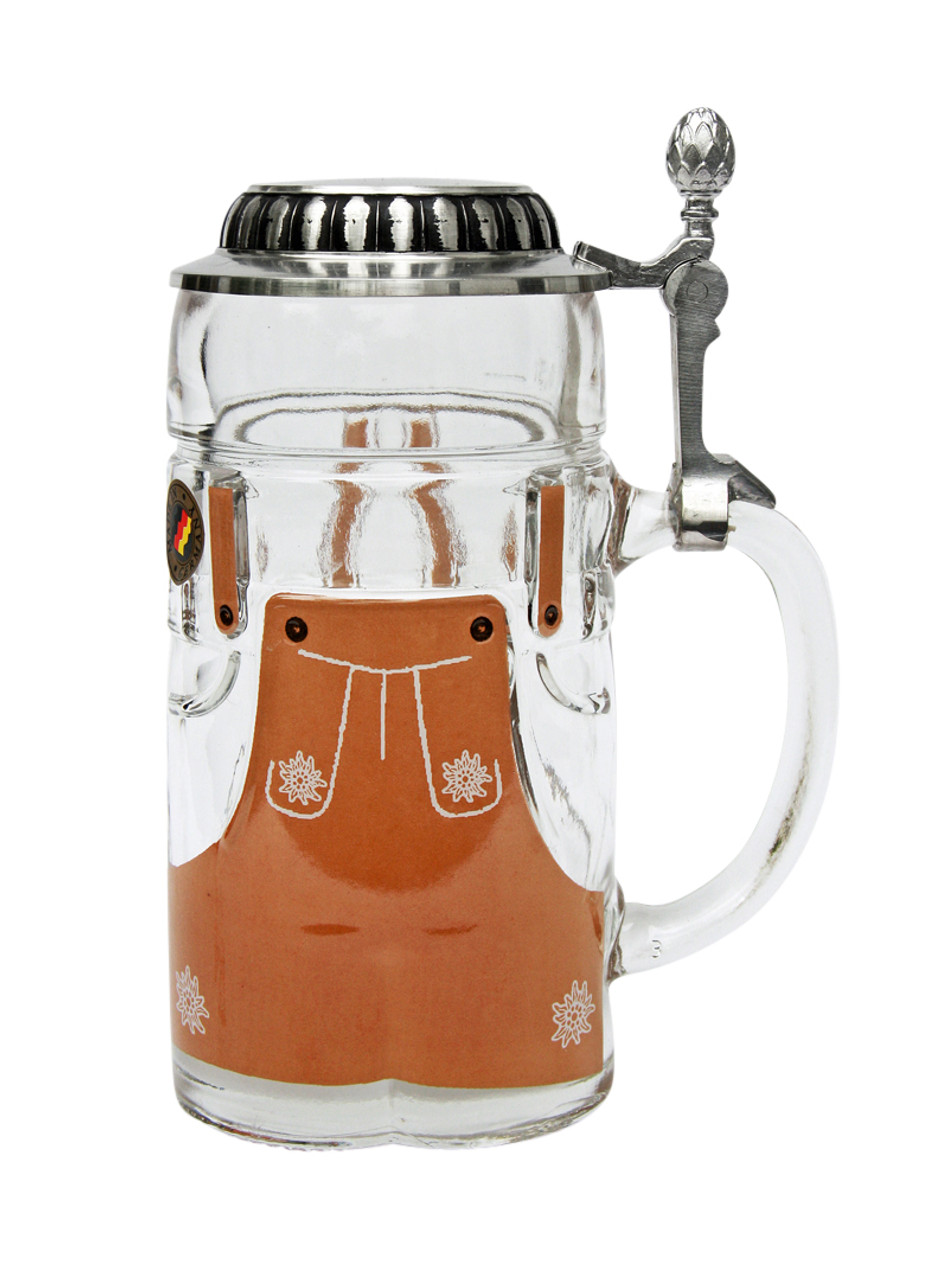 Front of half liter glass German beer stein with handle and pewter lid