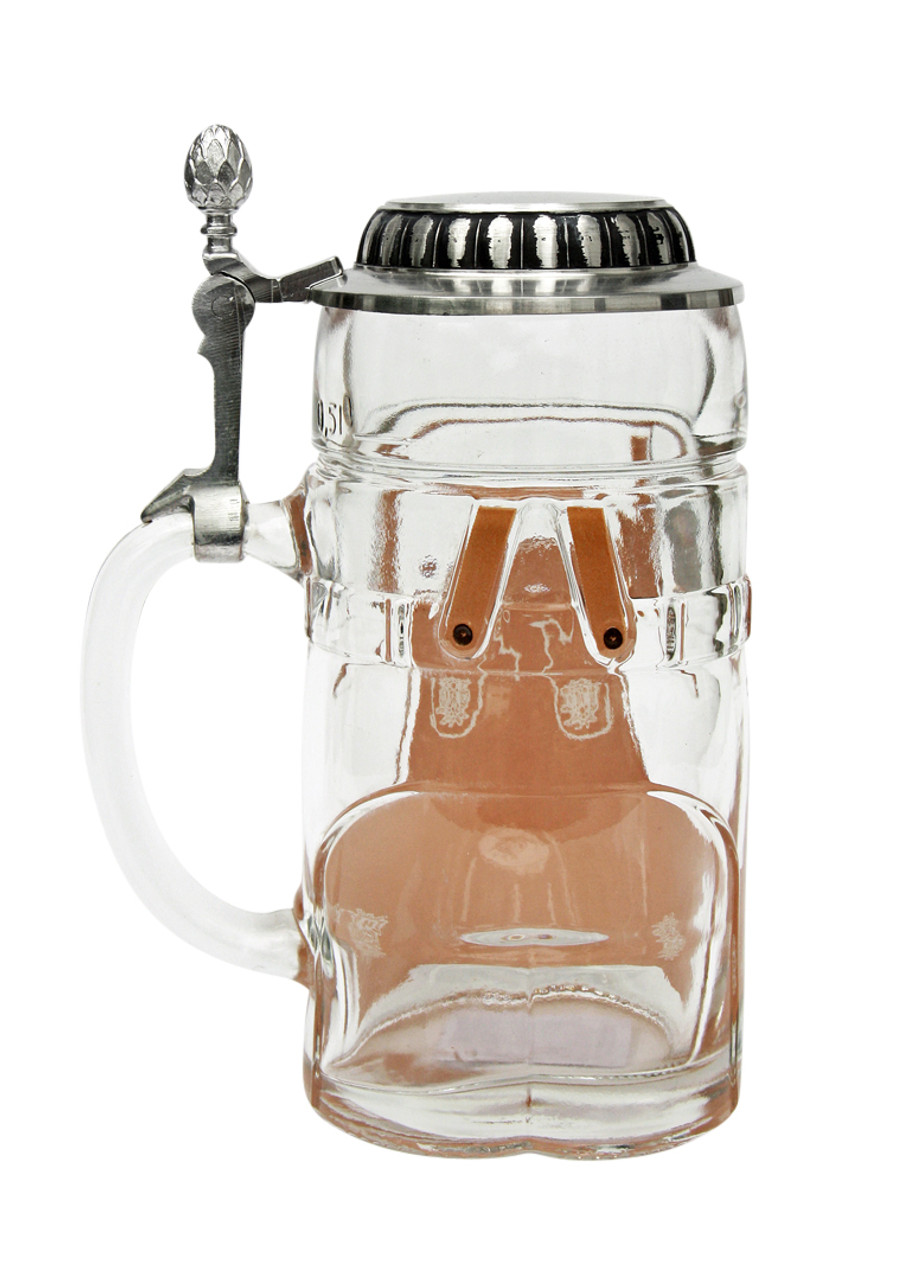 Rear of empty 1.5 liter glass beer stein with pewter lid
