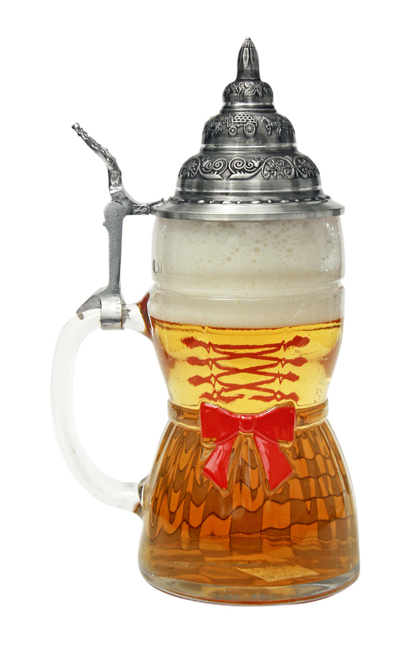 Traditional German Beer Stein with Dirndl Design