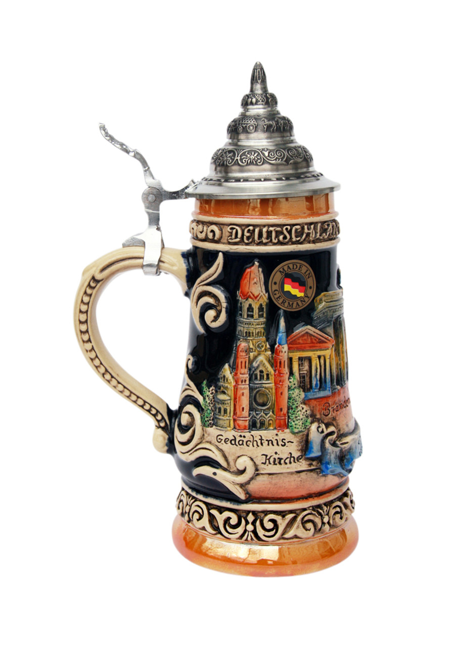 Limited Edition  Hand-Painted Relief Decorated Beer Stein .25 Liter