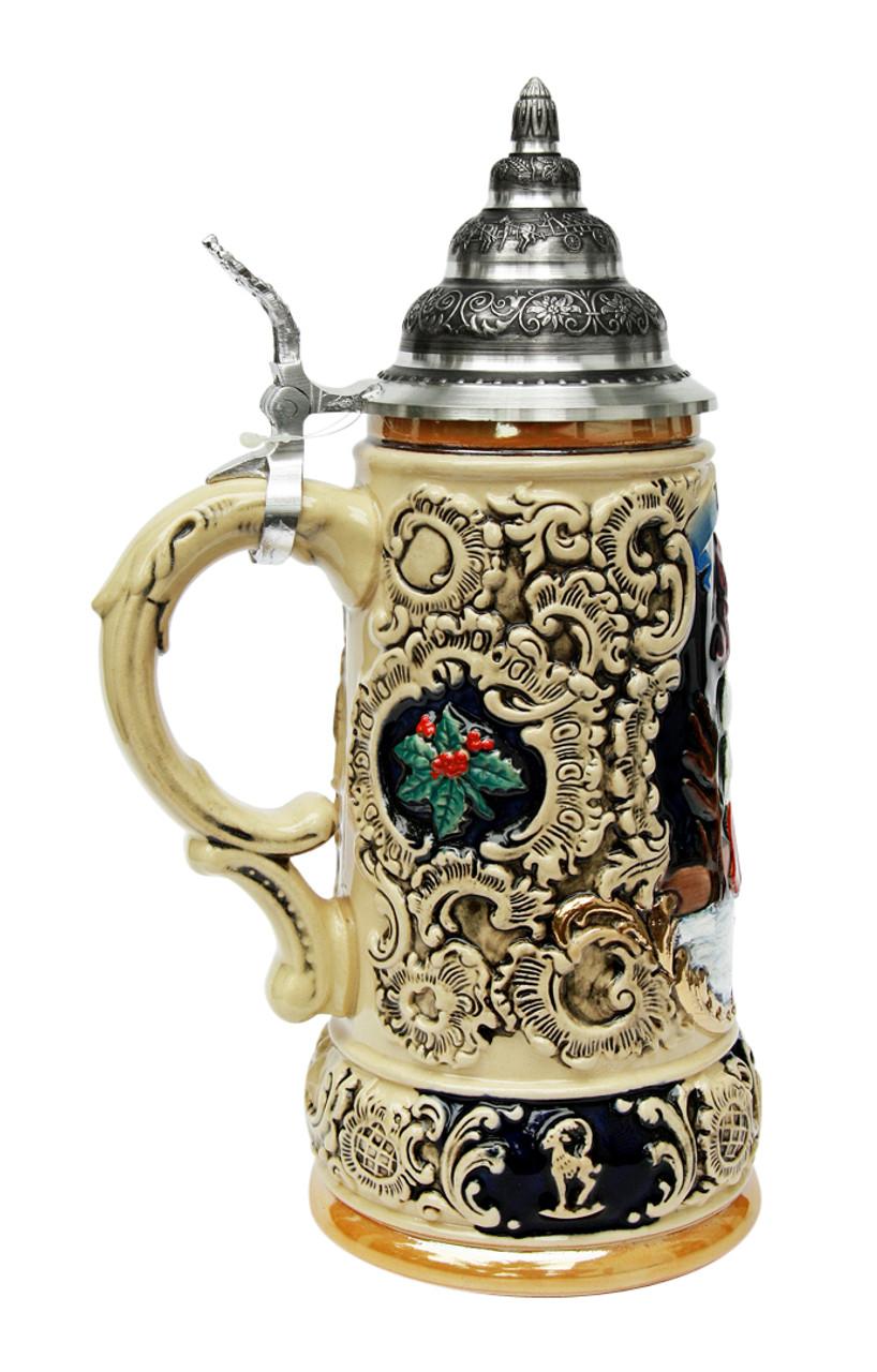 0.5 Liter Ceramic Cobalt Beer Stein