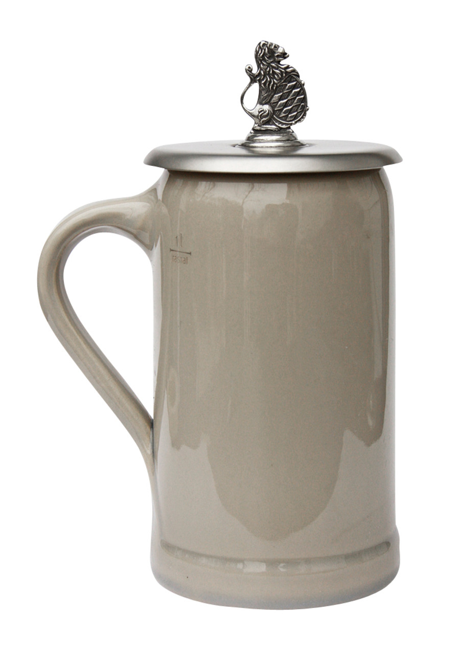 Pewter Bavarian Lion Crest Beer Mug Cover
